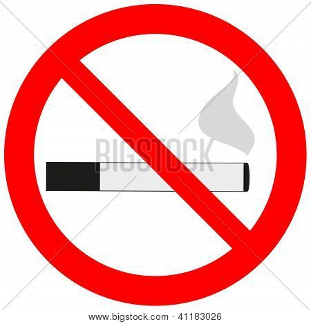 Prohibitory Sign With A Cigarette And Smoke.eps
