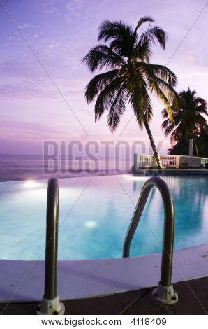Luxury Infinity Swimming Pool Caribbean Sunset