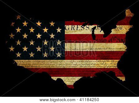 Declaration Of Independence Grunge America Map Flag