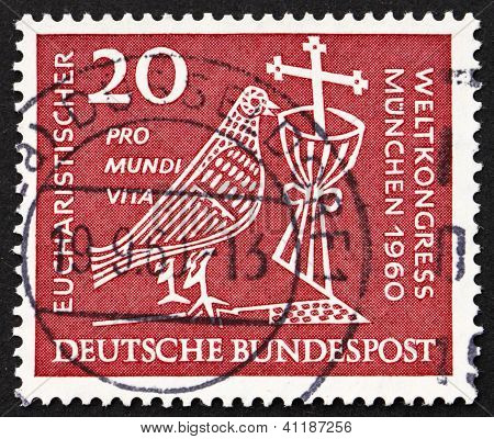 Postage Stamp Germany 1960 Dove, Chalice And Crucifix