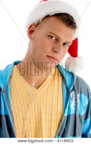 Handsome Man Wearing Christmas Hat