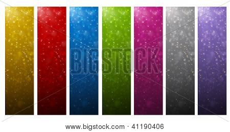 colorful vertical banners with lights