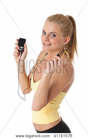 Sporty Young Woman With Mp3 Player.
