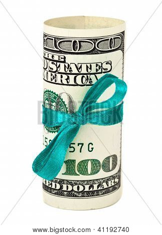 100 Us Dollar Wrapped By Ribbon Over White Background