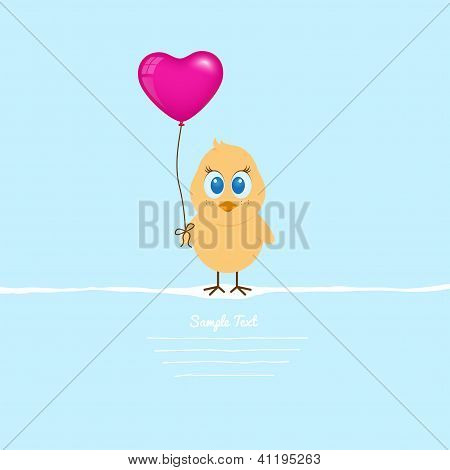 Easter Chicklet With Big Heart Balloon