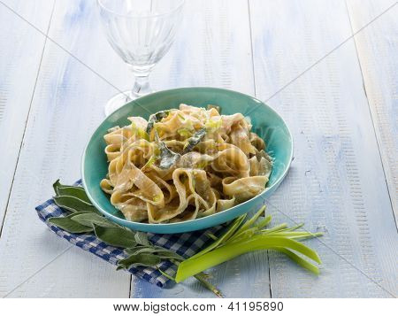 tagliatelle with leek sage and cream sauce, vegetarian food