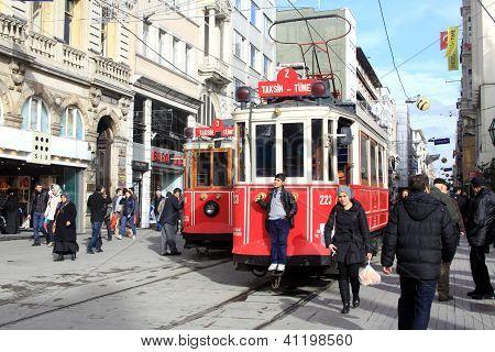 Red vintage tram on Istiklal square