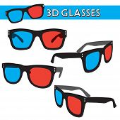 stock photo of dimentional  - Vector Illustration of 3D Glasses - JPG