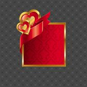 foto of corazon  - Valentines illustration with golden luxury ornate frame with hearts and ribbon - JPG