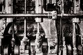 Steam Engine Grunge Detail With Manifold And Rods