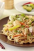 stock photo of pancit  - Spicy fried noodles an oriental food cuisine - JPG