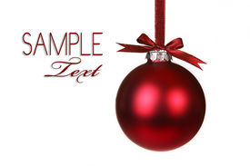 foto of christmas ornament  - Holiday Christmas Ornament Hanging With Bows on White Background - JPG