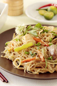 pic of pancit  - Spicy fried noodles an oriental food cuisine - JPG