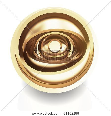 Abstract golden eye on white