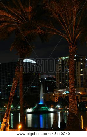 Orlando's Lake Eola Fountain At Night