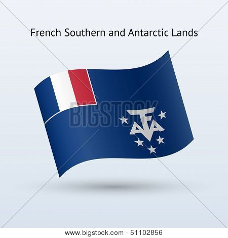 French Southern and Antarctic Lands flag waving.