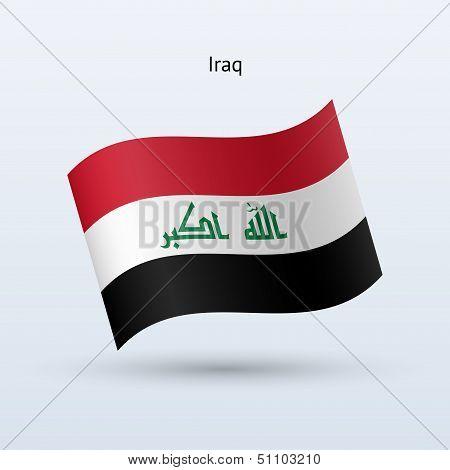 Iraq flag waving form. Vector illustration.