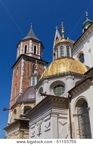 wawel cathedral on wawel hill in old town of cracow in poland