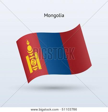 Mongolia flag waving form. Vector illustration.