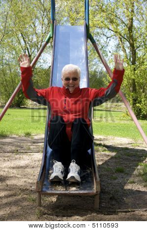 Senior Lady In Playground