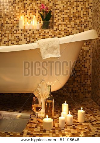 Home Bathroom Interior With Bubble Bath