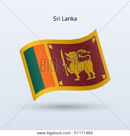 Sri Lanka flag waving form. Vector illustration.