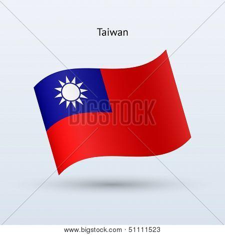 Taiwan flag waving form. Vector illustration.
