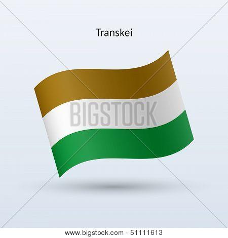 Transkei flag waving form. Vector illustration.