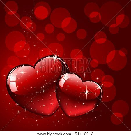 Two hearts on red background