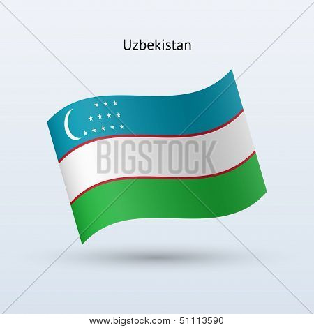 Uzbekistan flag waving form. Vector illustration.