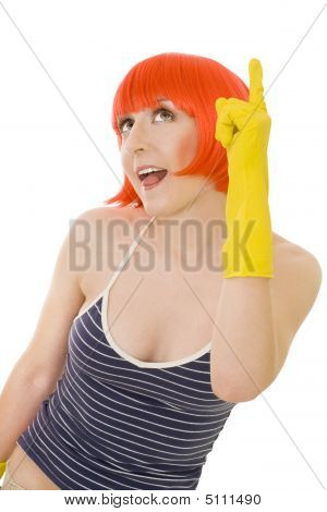 Woman In Red Wig And Yellow Gloves