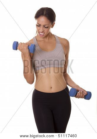 Woman Struggles With Weight During Intense Workout.