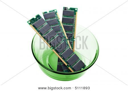 Three Pieces Of Computer Memory In Green Bowl