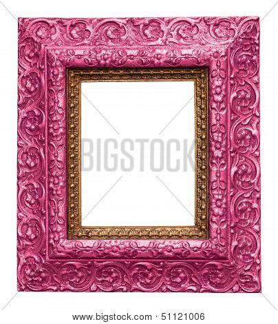 Pink Antique Carved Picture Frame
