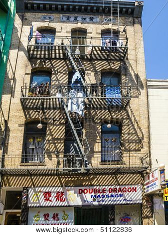 Iron Fire Escape Is Used For Drying Clothes