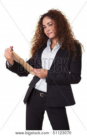 Business Woman With Clip Board Isolated White Background.