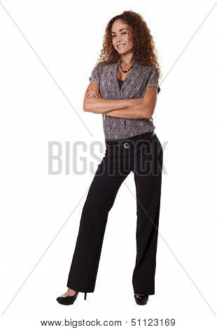 Latino Woman Standing Isolated White Background.