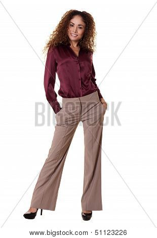 Happy Woman Standing Isolated White Background.