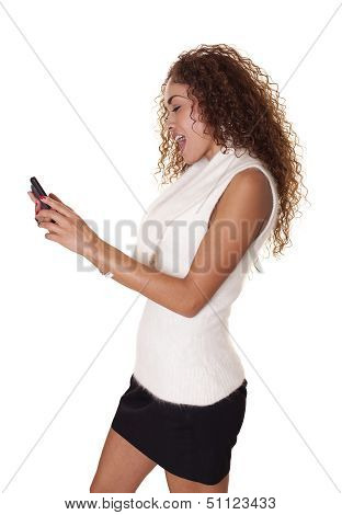 Beautiful Woman Shocked With Her Cell Phone.