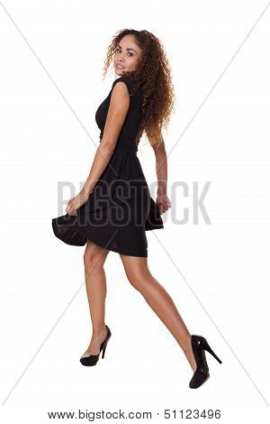 Active Woman Dancing Isolated White Background.