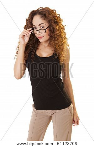 Skeptical Woman Looks Over Her Glasses.