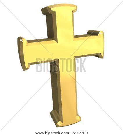 cross in gold - 3D