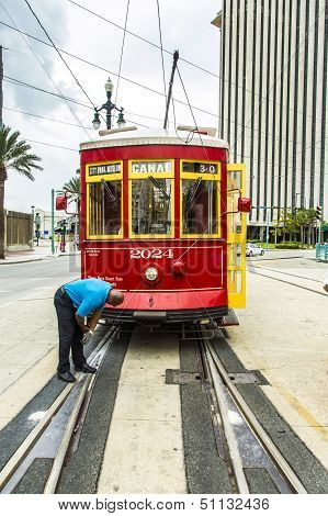 Operator Works On The Streetcar At Canal Street