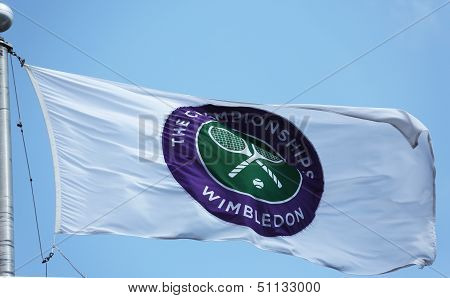 The Wimbledon championship flag at Billie Jean King National Tennis Center during  US Open 2013