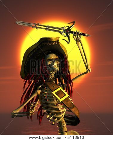 Skeleton Pirate In Tropical Sun