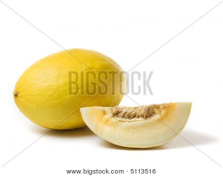 Whole Honeydew Melon And Slice