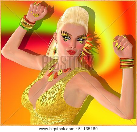 Blond dance girl on orange swirl background