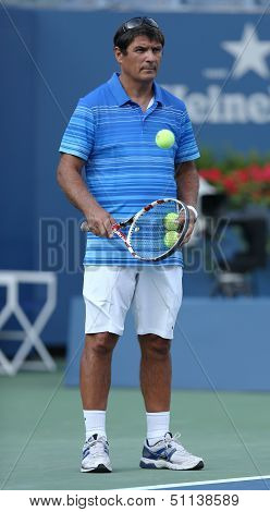 Tennis coach Toni Nadal during Rafael Nadal practice for US Open 2013 at Arthur Ashe Stadium