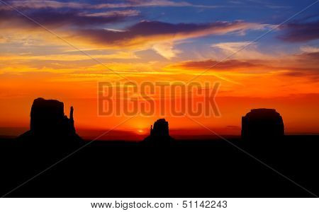 Sunrise at Monument Valley West and East Mittens Butte Utah National Park