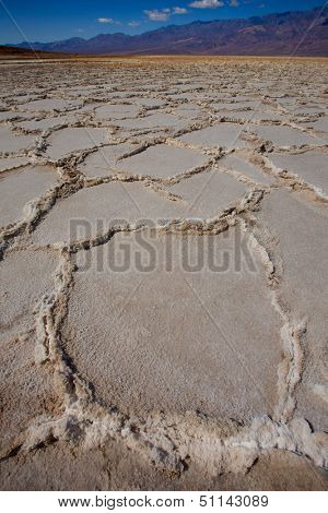 Badwater Basin Death Valley salt formations in California National Park